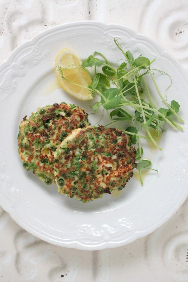GREEN PEA FRITTERS  This is a wonderful meal you can whip up in around 10 minutes. What I love about these delicious green pea fritters is that you can also take any leftovers to work the next day and enjoy them cold or warm with a side salad of leafy greens, a squeeze of lemon and cold pressed olive oil.