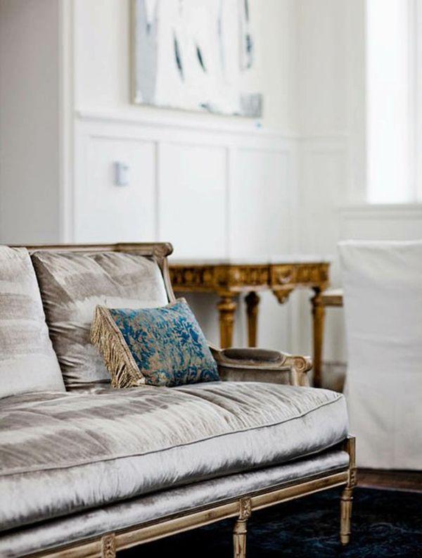 Silver Velvet Sofa