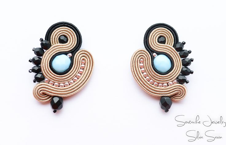 Beige/Black/Blue Soutache earrings