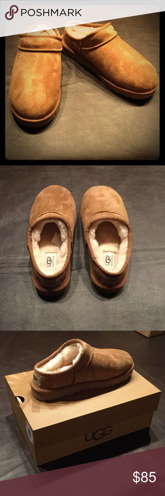 🎀NIB UGG Classic Slipper🎀 Awesome & cozy pair of brand new UGG classic slippers with hard soles in the color chestnut. Bought these for my mom for Christmas but they were a size too small for her. Size 7 from a smoke FREE home as always! 💕 PRICE FIRM & NO TRADES PLEASE! UGG Shoes Slippers