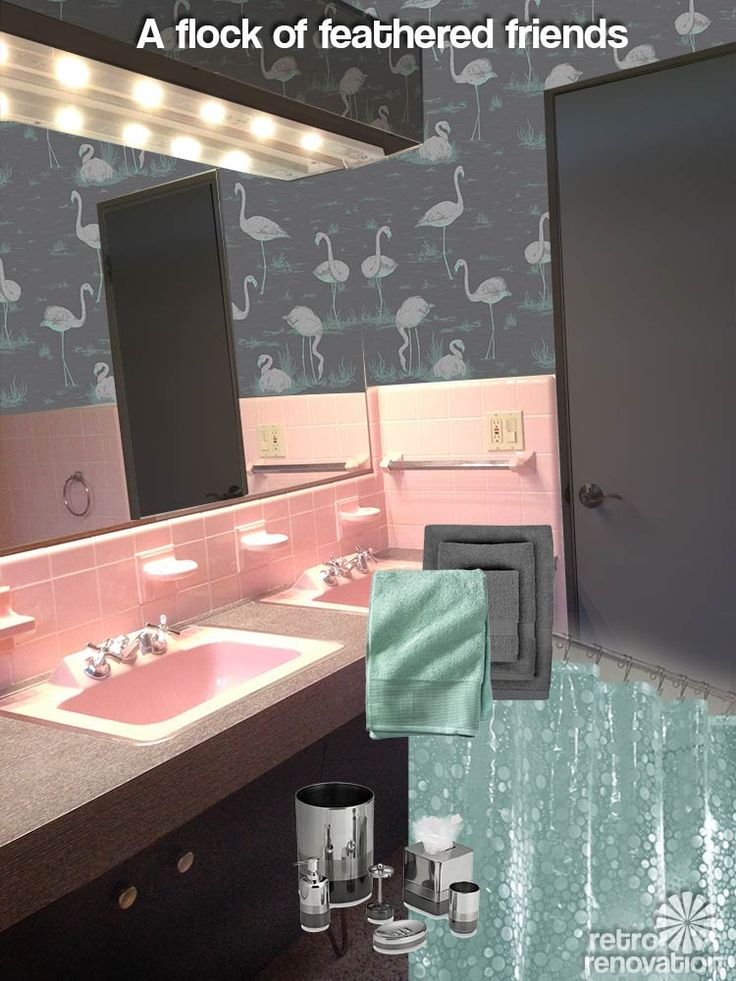 Gus has a classic vintage pink bathroom -- flamingo tiles, even! But, he's not a fan of all the pink and asks for our make it more masculine.