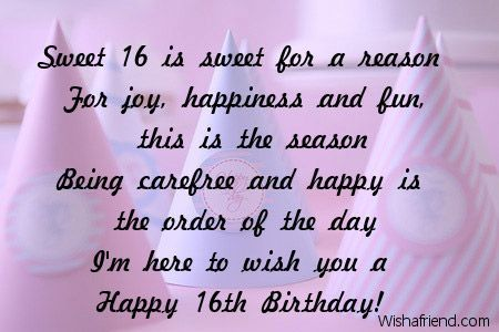 Sweet 16 Quotes And Sayings Happy Sweet 16th Birthday