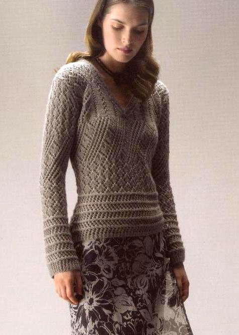 Пуловер с V-образным вырезом Размеры пуловера: 36/38 и 40/42. http://shemyvyazaniya.shemyuzorov.com/page/pulover-s-v-obraznym-vyrezom