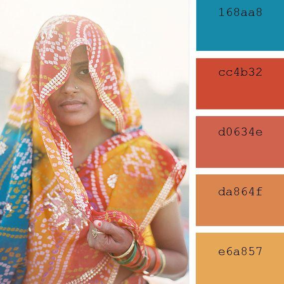 paletas de colores clidos india cyan orange ochre