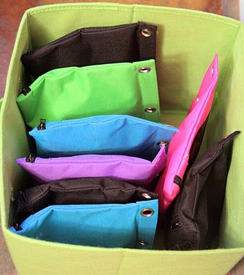 Use zippered pencil pouches to organize puzzles instead of storing the bulky boxes.  Cut off the image from the front of the box and store it in the bag, too.  (This blog post has several great ideas for organizing kids toys.)