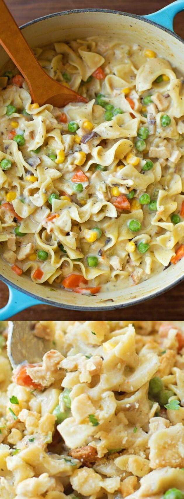This One-Pot Creamy Chicken Pot Pie Noodles from Life Made Simple has all of the comfort of a chicken pot pie in an easy to make dinner recipe! It makes an amazingly creamy, flavorful and filling dinner! The recipe is budget friendly and will feed a hungr