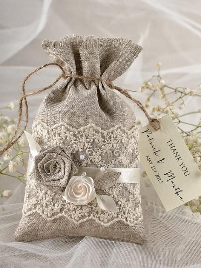 Add your favorite goodies for an instant favor to offer your guests.    Natural Rustic Linen Wedding Favor Bag with Lace and birch bark herat