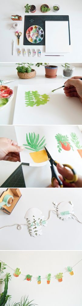 just a cute idea...hand painted banner with painted plants!