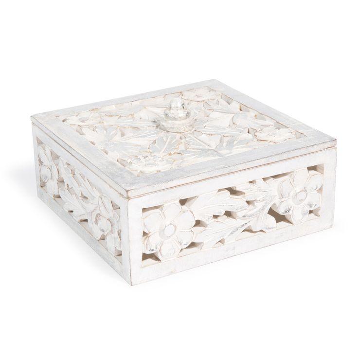 Boîte sculptée en bois blanche H 10 cm SILVER