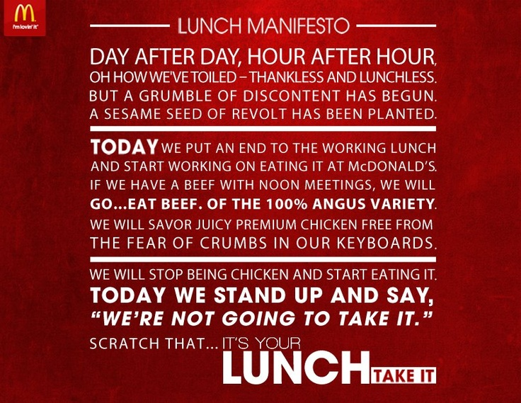 Take your lunch back manifesto