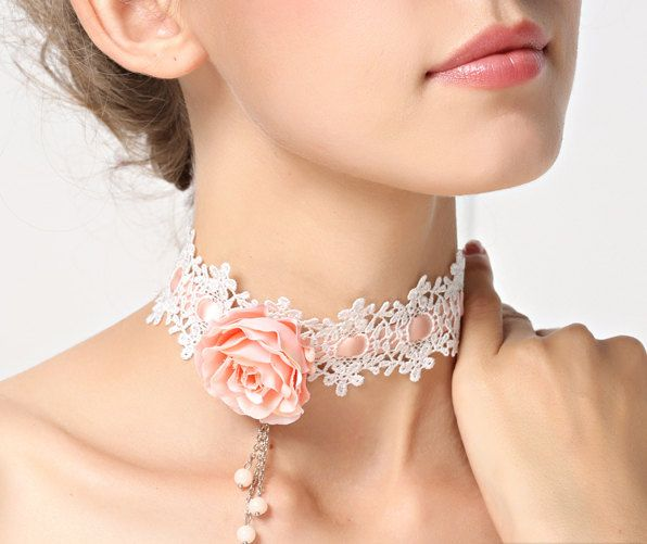 Romantic White Lace Choker Necklace with Pink Rose by FairybyFoxie