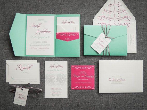 Enchanting Vintage Wedding Invitation shown in by JulieHananDesign