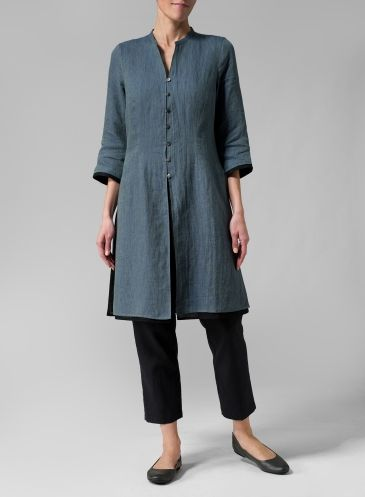 Linen Double Layers Long Top - Two Tone Blue Green/Black