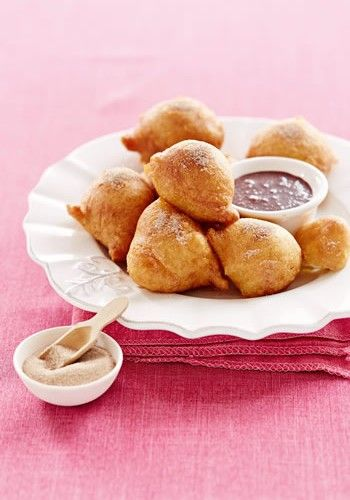 Vetkoekies with Spiced Chocolate Dipping Saue
