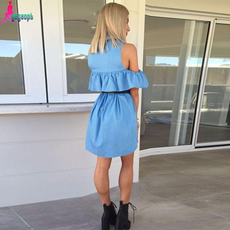 Gagaopt 2016 Estate Vestiti Dalle Donne 100% Cotone Plus Size Blue Ruffles Off Spalla Causale Spiaggia Abito Senza Maniche Tubo Vestidos in da Abiti su AliExpress.com | Gruppo Alibaba