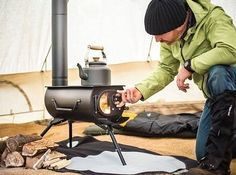 This portable woodburning stove that can heat a whole tent pioneer-style: | 19 Conveniently Portable Items That Will Change Your Life