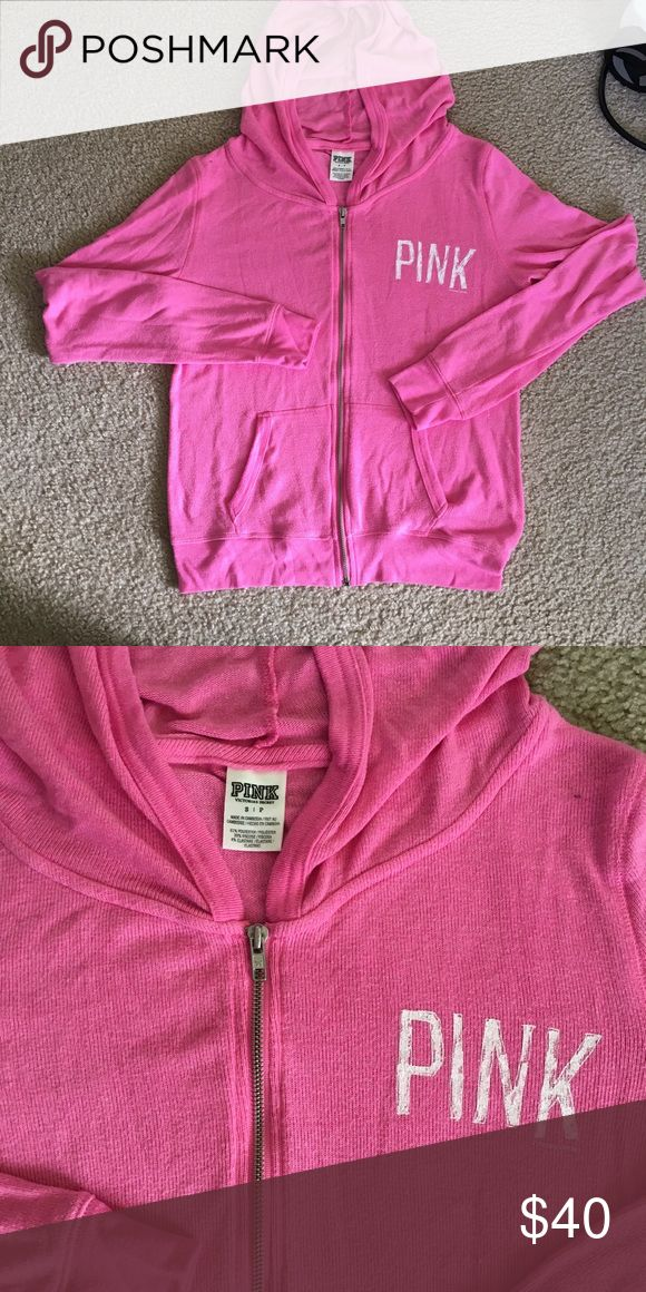 Women's Pink VS comfy full zip-up. Stretchy size:S Gently used comfy lounge zip up by VS Pink. No flaws. Very stretchy fit. I am typically a medium and this zip up could fit small-medium comfortably. Questions and offers welcomed! ☺ PINK Victoria's Secret Tops Sweatshirts & Hoodies