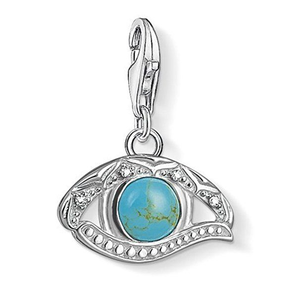 Thomas Sabo Women-Charm Pendant Ethno dreamcatcher Charm Club 925 Sterling Silver blackened Zirconia white turquoise 1326-646-17
