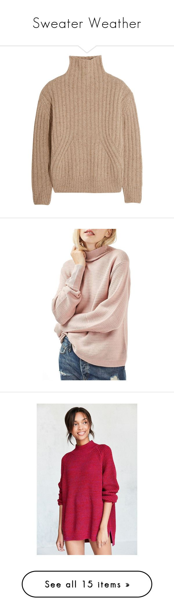 """Sweater Weather"" by marinavl ❤ liked on Polyvore featuring tops, sweaters, beige, jumpers, ribbed turtleneck top, turtle neck jumper, chunky sweater, beige turtleneck, wool blend sweater and pink"