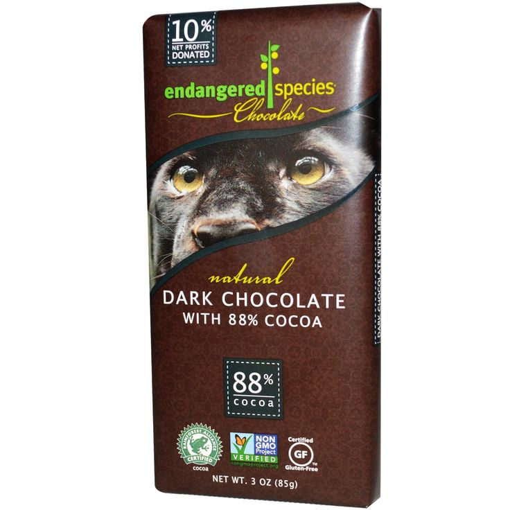 Endangered Species Chocolate, Natural Dark Chocolate, - carbs are fairly low if you only eat 1/5 of a bar.