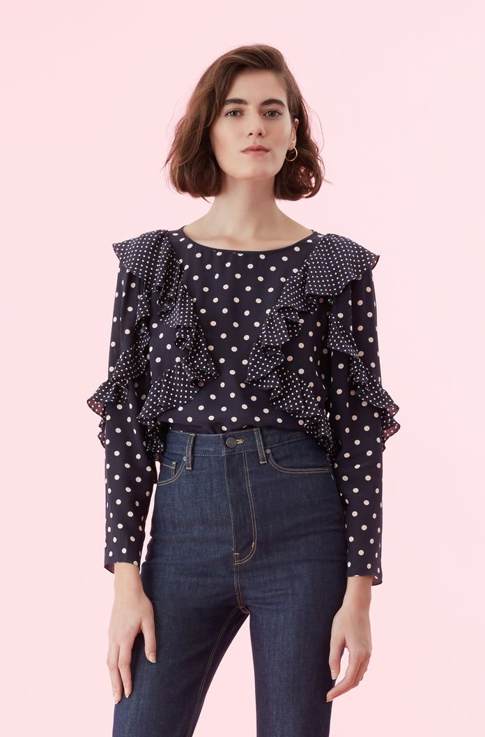 5062c0c2f4e1 Dot Print Ruffle Top in 2019 | FASHION COMMERCIAL | Ruffle top, Tops, Ruffle  blouse