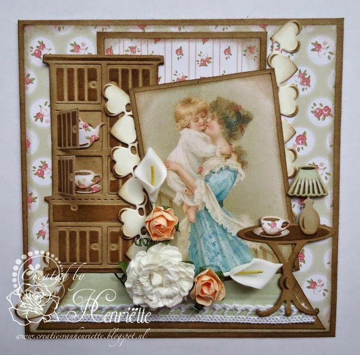 Vintage kaart gemaakt met de Love Home stencils kast 6002/0338, tafel 6002/0339 en serviesje 6002/0340