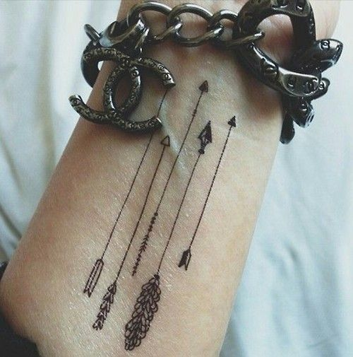 Tiny and dainty arrow tattoos on wrist