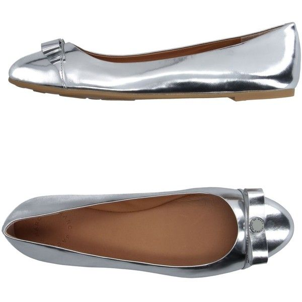 Marc By Marc Jacobs Ballet Flats (1.005 RON) ❤ liked on Polyvore featuring shoes, flats, silver, ballet pumps, bow flats, ballerina shoes, marc by marc jacobs flats and round toe ballet flats