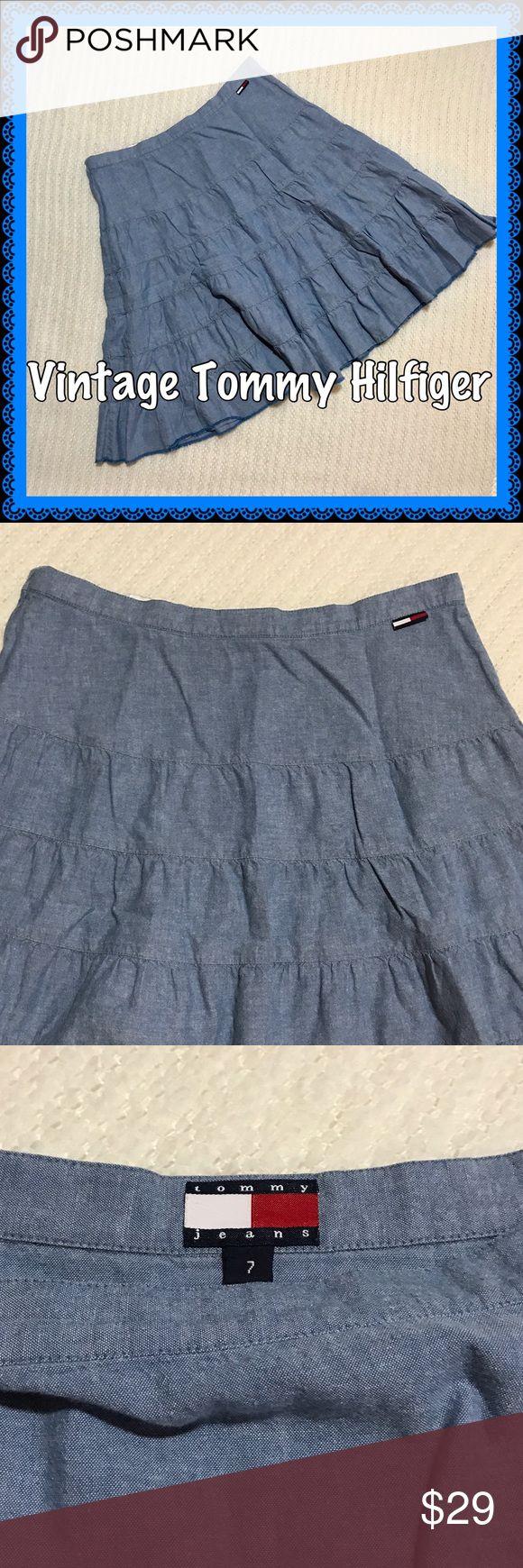 Vintage Tommy Hilfiger Ruffled Blue Skirt Vintage Tommy Hilfiger. Side Zip. Frayed Hem. Just add Cowboy boots! Tommy Hilfiger Skirts A-Line or Full