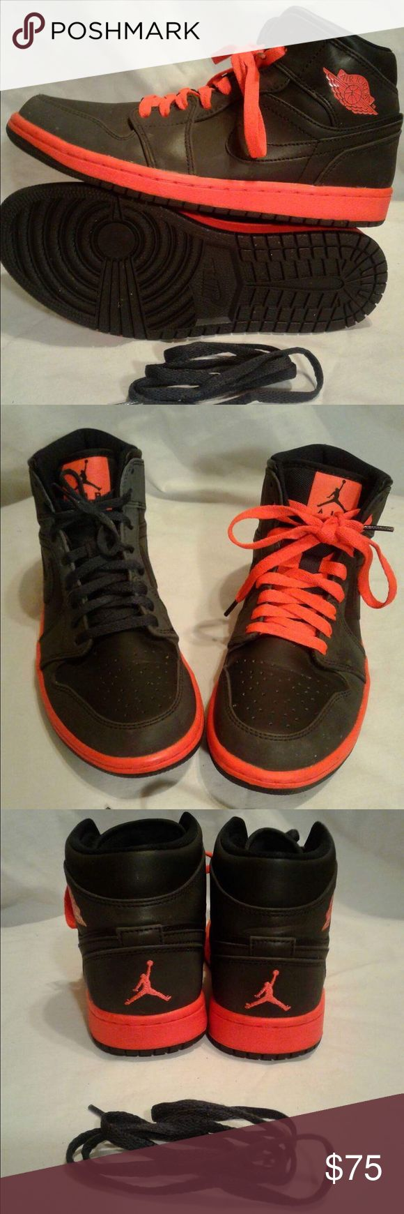 Men's Nike Air Jordan infrared Flight Shoes Men's Size 8 Air Jordan Flight Infrared Shoes High Tops Flight Nike preowned no major flaws normal preowned condition black and infrared Nike Shoes Sneakers