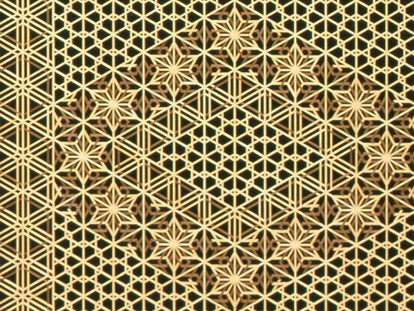 この作品は大小のゴマ柄を主に、八重桜亀甲の組子柄の模様を強調させつつ、帯の部分の編柄を組み入れた作品...