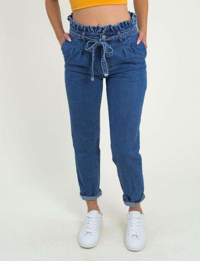 Γυναικείο μπλε ψηλόμεσο τζιν με πιέτες και ζωνάκι RD1113  jeans  παντελόνια   γυναικεία  φθινοπωρινά  ρούχα  2018  torouxo.gr  rouxa  gunaikeia 61558d7523a