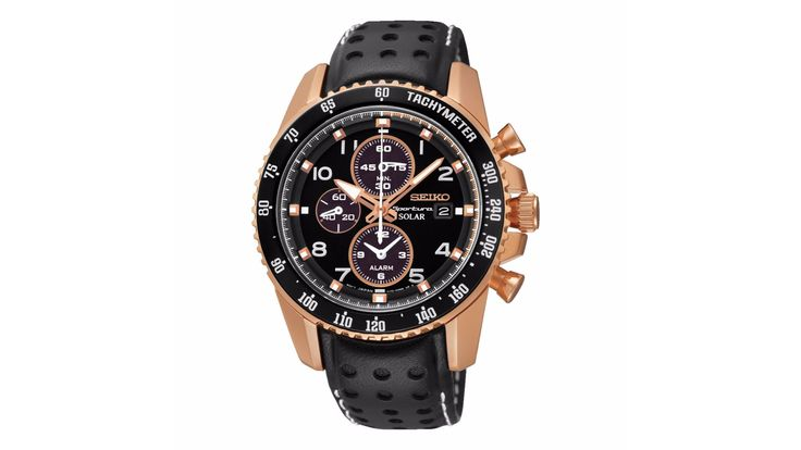 Seiko Sport men's timepiece, set with a black perforated leather strap and rose gold-plated case with black ion-plated tachymeter bezel. The bold black chronograph dial features three sub dials and date window at 3 o'clock, with contrasting rose gold tone hour markers and hands. £399 from Ernest Jones.