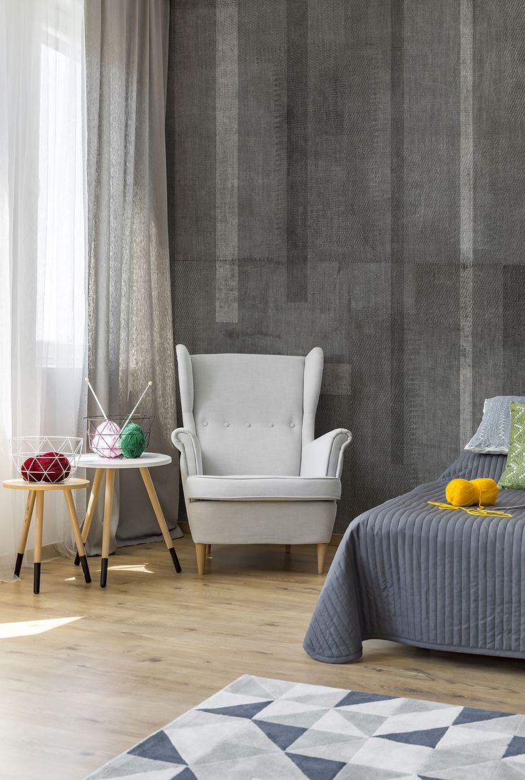 """Beautiful modern bedroom with wooden pavement and """"Set"""" Wallpaper by #Tecnografica #ItalianWallcoverings"""