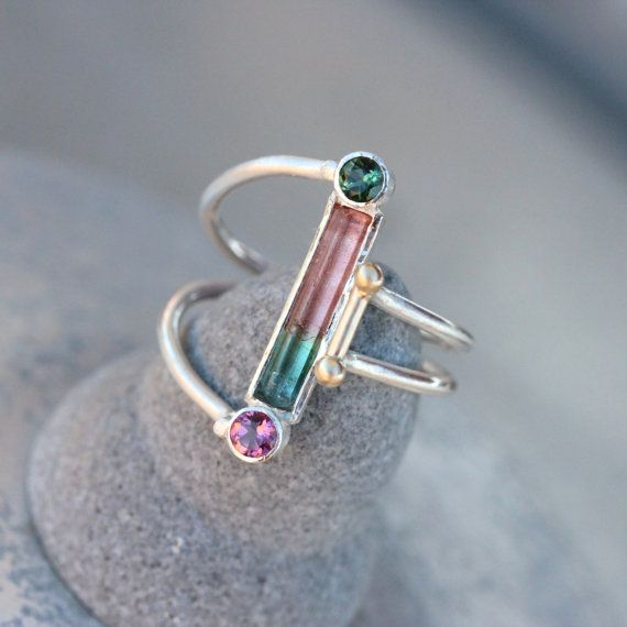 Watermelon Tourmaline Silver Gold Ring Unique door NangijalaJewelry, $185.00