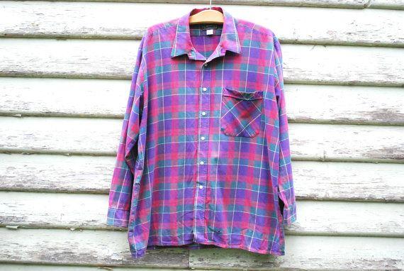 90s Vintage Plaid Flannelette Shirt Purple by GamineRagVintage