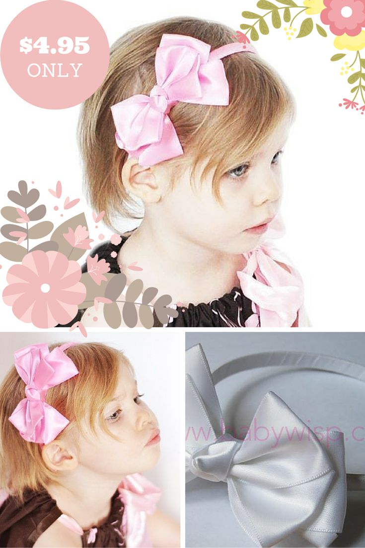 Butterfly Bow Satin Headband Our satin headbands with layers of luxurious 1.5 inch wide satin ribbon tied into a very dressy and bold bow. The bow itself is about 4.5 inches (about 11 cm). Appropriate for children over two years old.