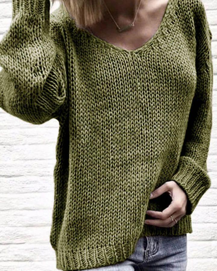 V-Neck Loose Knit Pullover Sweater – #bikini#swimsuit  #bikini set#high waiste…