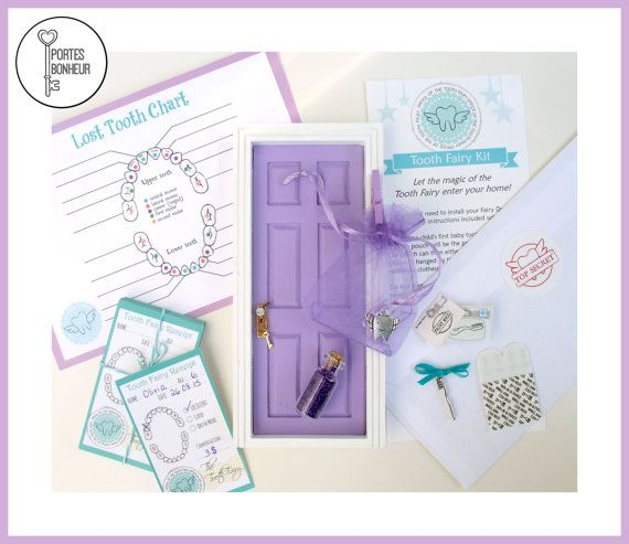 Purple Tooth Fairy Door Kit Tooth Fairy Door by Portesbonheur