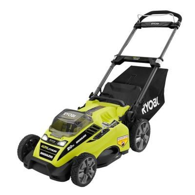 Ryobi 20 in. 40-Volt Brushless Lithium-Ion Cordless Electric Lawn Mower with 5.0…