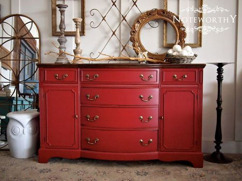 red vintage duncan phyfe buffet, server, sideboad, bow front, painted red, distressed, red inspiration, painted buffet ideas, dining room, buffet makeover, sherwin williams paint AVAILABLE for sale $499