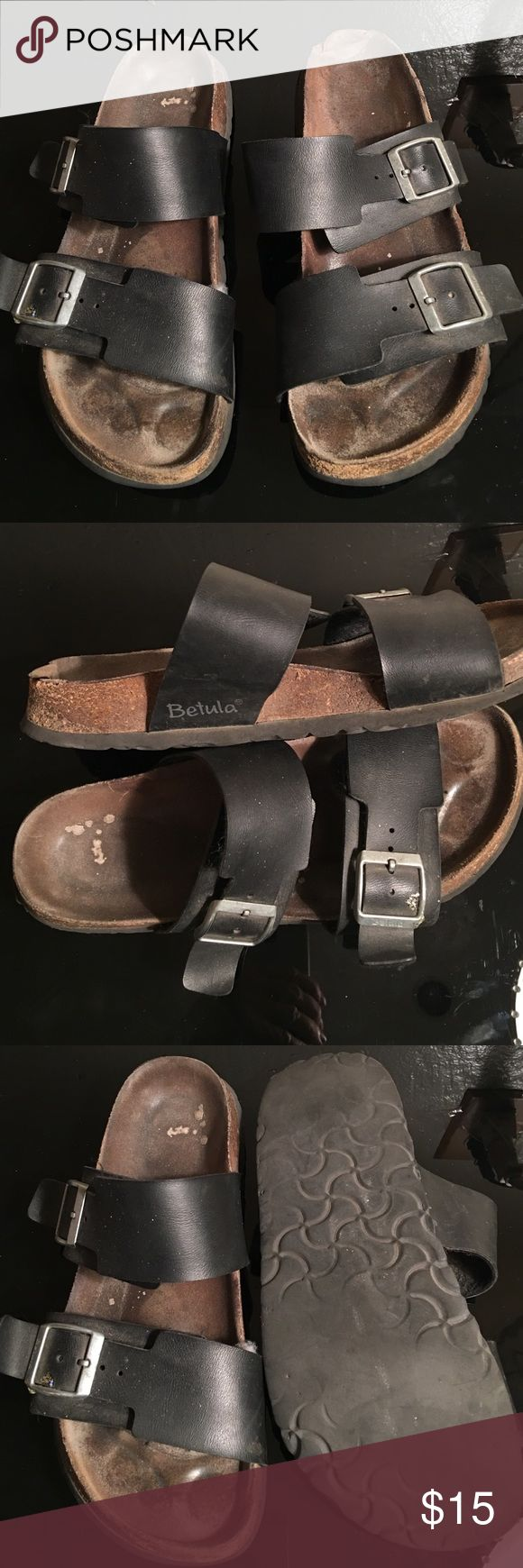 BIRKENSTOCK NARROW BETULA SANDALS SIZE 9 PREOWNED WORN SIGNS OF COSMETIC WEAR BIRKENDTOCK BETULA BLACK SANDALS IN SIZE 9 NARROW Birkenstock Shoes Sandals