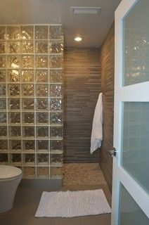 Glass block shower. Westchester Home Addition/Renovation - contemporary - bathroom - new york - by Daniel Contelmo Architects