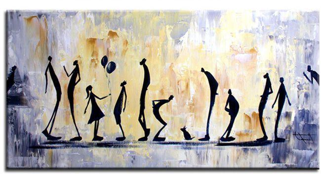 Figuratieve kunst acryl schilderij 39 small talk 39 van ines for Moderne schilderijen