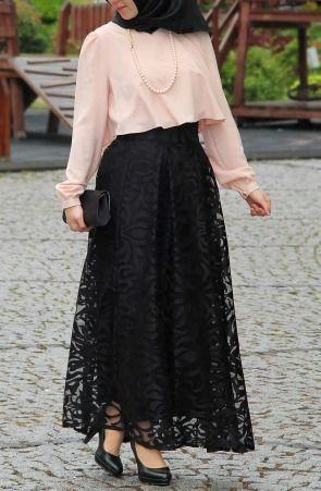 Suhneva - Dantel Tasarım Prenses Etek - Siyah