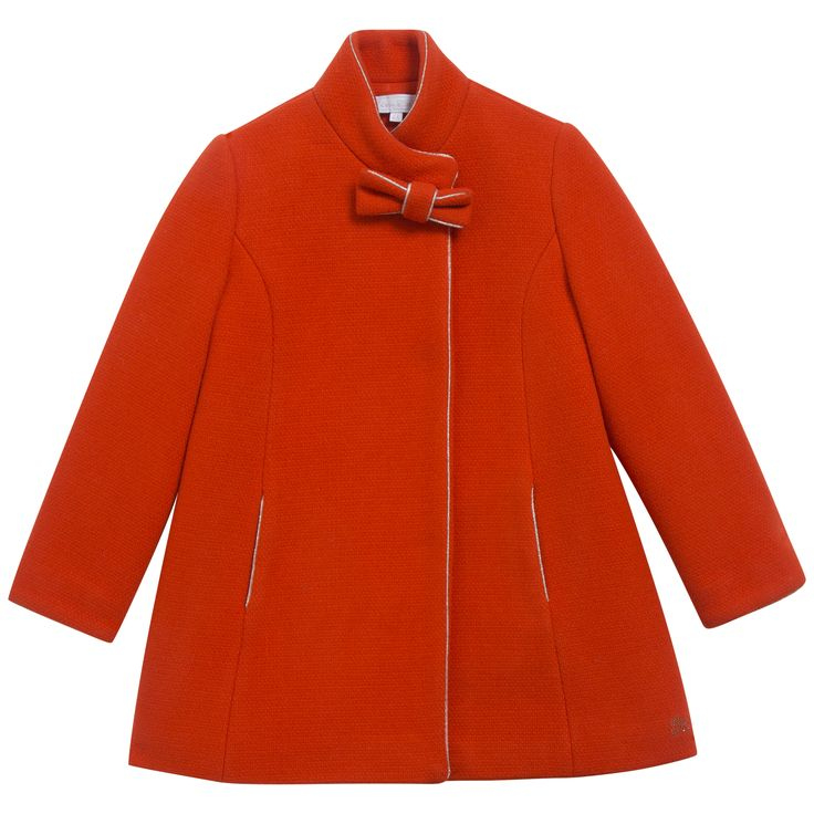 Orange woollen coat with golden finish  #outfit #FW15 #fall #winter #kidsfashion
