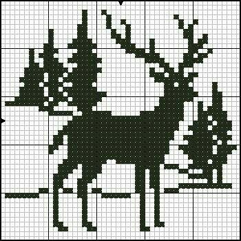 Deer reindeer cross stitch.