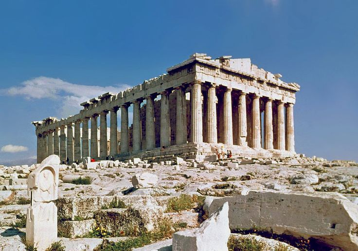 """Topic: Greek Architecture; the Parthenon of Athens was built between 447 and 438 BCE. This is a symbol for the Athenians' power, genius and confidence and for honoring their patron goddess, Athena Parthenos (""""Athena the Virgin"""")."""