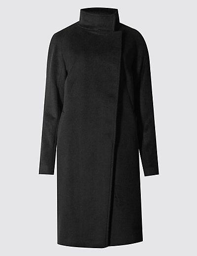 Wool Blend Buttonsafe™ Funnel Neck Coat | M&S