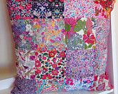 Delightful OOAK Liberty Patchwork Cushion Cover - Classic Liberty Art Fabric Prints - Stylish Colourful Home Decor - Handmade in Australia.  Shop Rhapsody and Thread via Etsy.